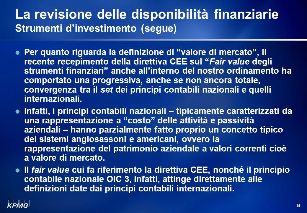 13 La revisione delle disponibilità finanziarie Strumenti dinvestimento (segue) Liscrizione iniziale di tali strumenti avviene al costo dacquisto, par