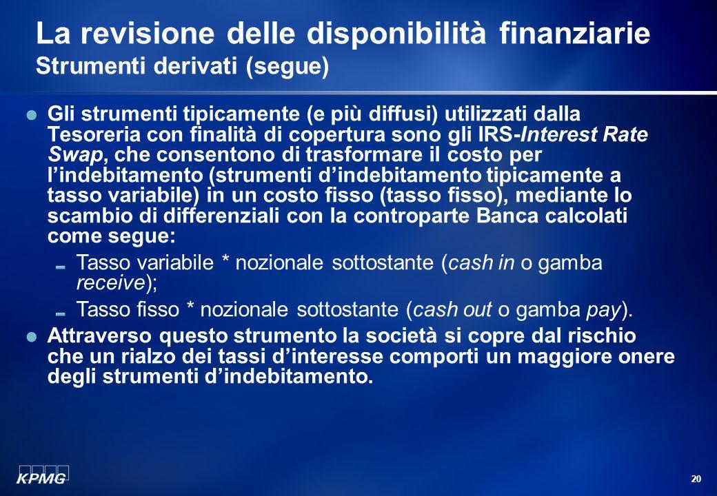 19 La revisione delle disponibilità finanziarie Strumenti derivati (segue) Con riferimento a questa specifica categoria di strumenti finanziari, il pr