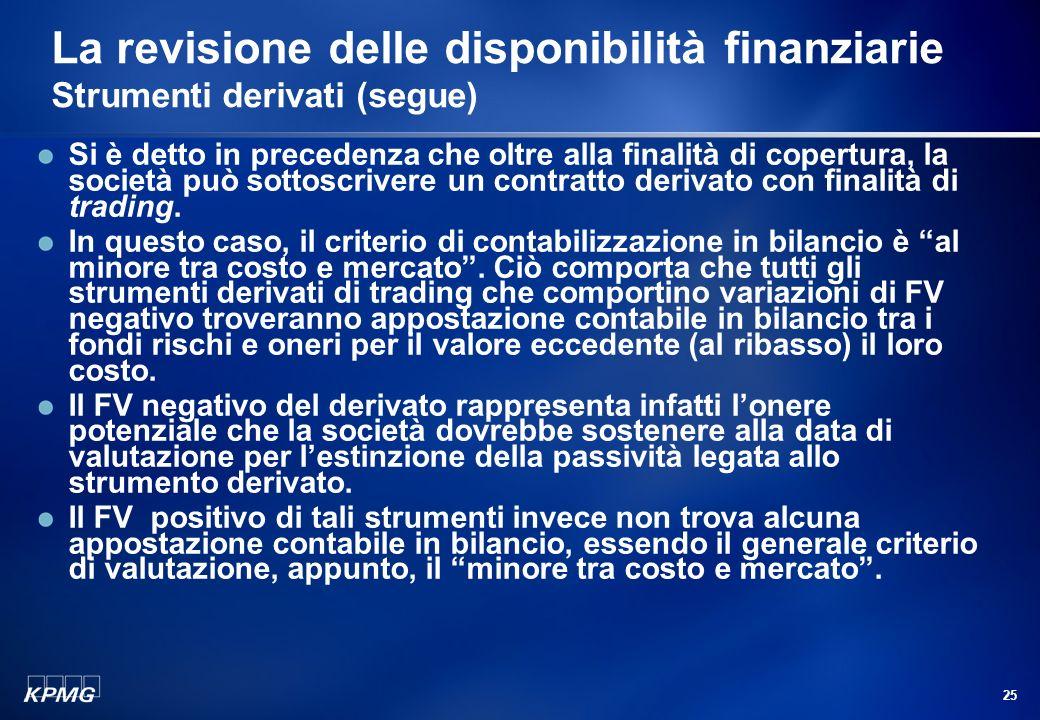 24 La revisione delle disponibilità finanziarie Strumenti derivati (segue) Quanto allinformativa da fornire in relazione sulla gestione, agli Amminist