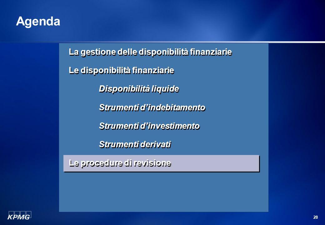 27 La revisione delle disponibilità finanziarie Strumenti derivati (segue) Vale la pena di ricordare che le strutture che i derivati possono assumere