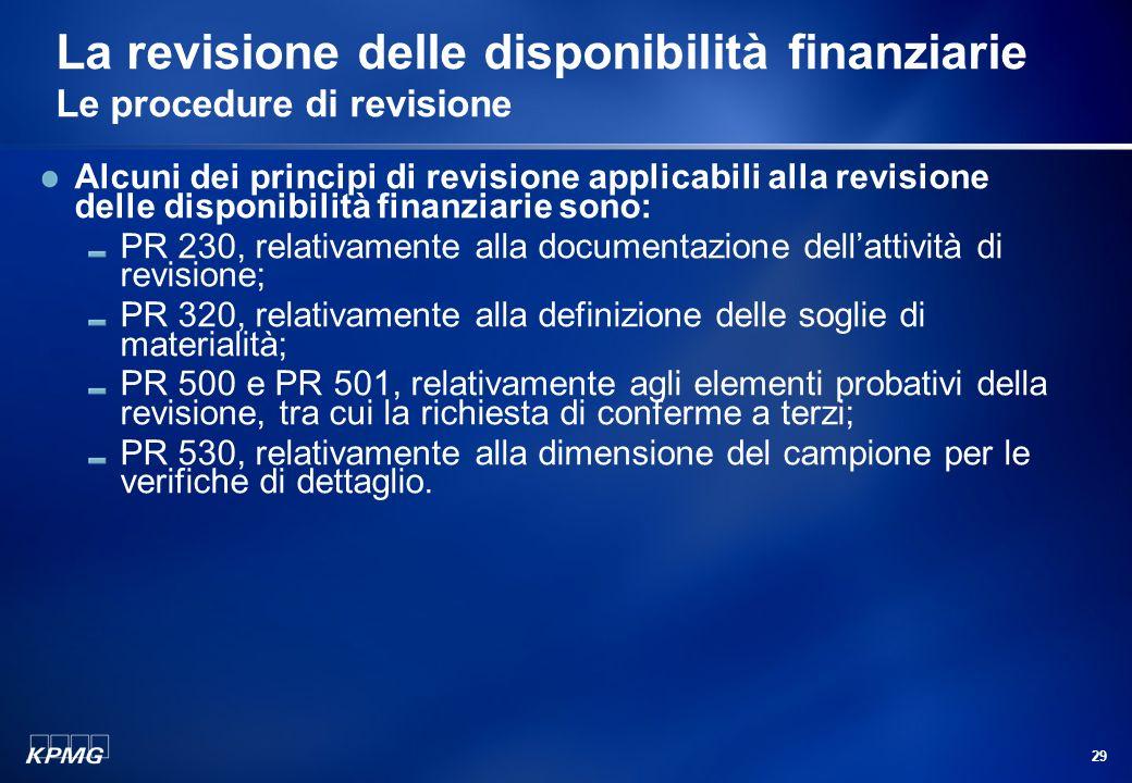 28 Agenda La gestione delle disponibilità finanziarie Le disponibilità finanziarie Disponibilità liquide Strumenti dindebitamento Strumenti dinvestime