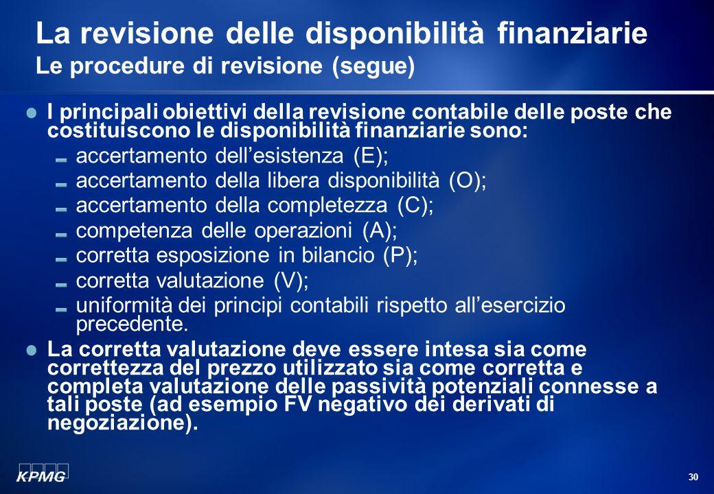 29 La revisione delle disponibilità finanziarie Le procedure di revisione Alcuni dei principi di revisione applicabili alla revisione delle disponibil