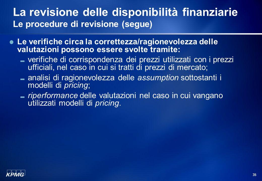 34 La revisione delle disponibilità finanziarie Le procedure di revisione (segue) Strumenti dinvestimento: richiesta di informazioni scritte alle banc