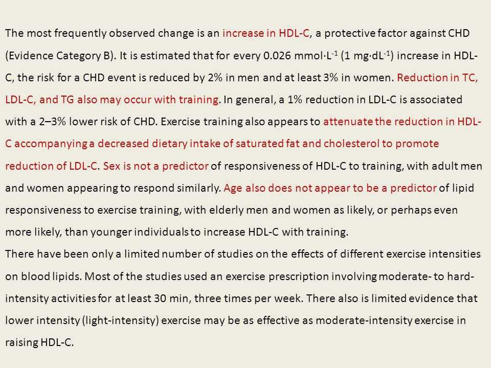 The most frequently observed change is an increase in HDL-C, a protective factor against CHD (Evidence Category B). It is estimated that for every 0.0
