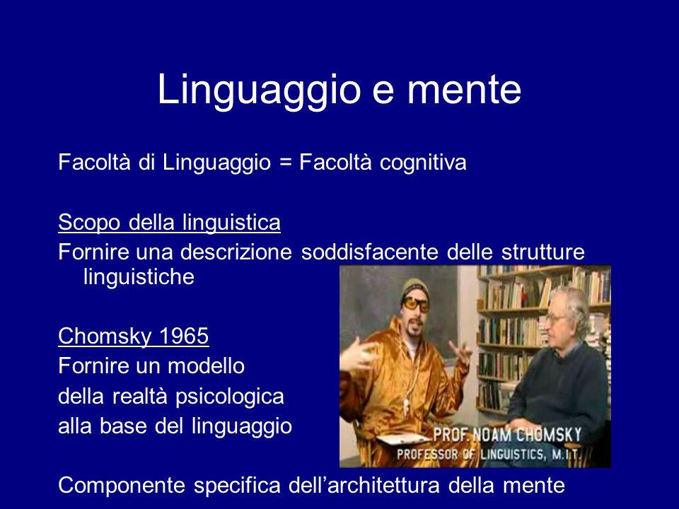 Il paradosso dellacquisizione Jackendoff (2002): -Lintera comunità dei linguisti non è riuscita nellarco di parecchie decadi a dare una descrizione adeguata della competenza che un parlante ha della propria lingua nativa.