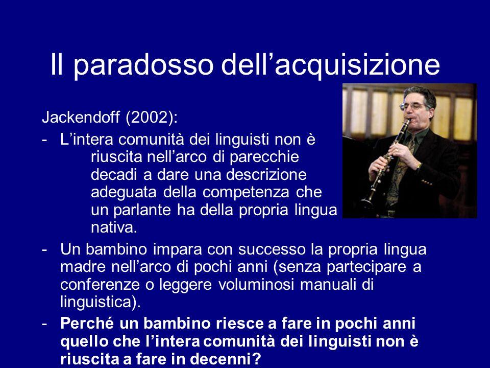 Listinto del linguaggio Pinker (1994) labilità del bambino di imparare a parlare, dato un certo contesto, è parte del suo essere un essere umano.