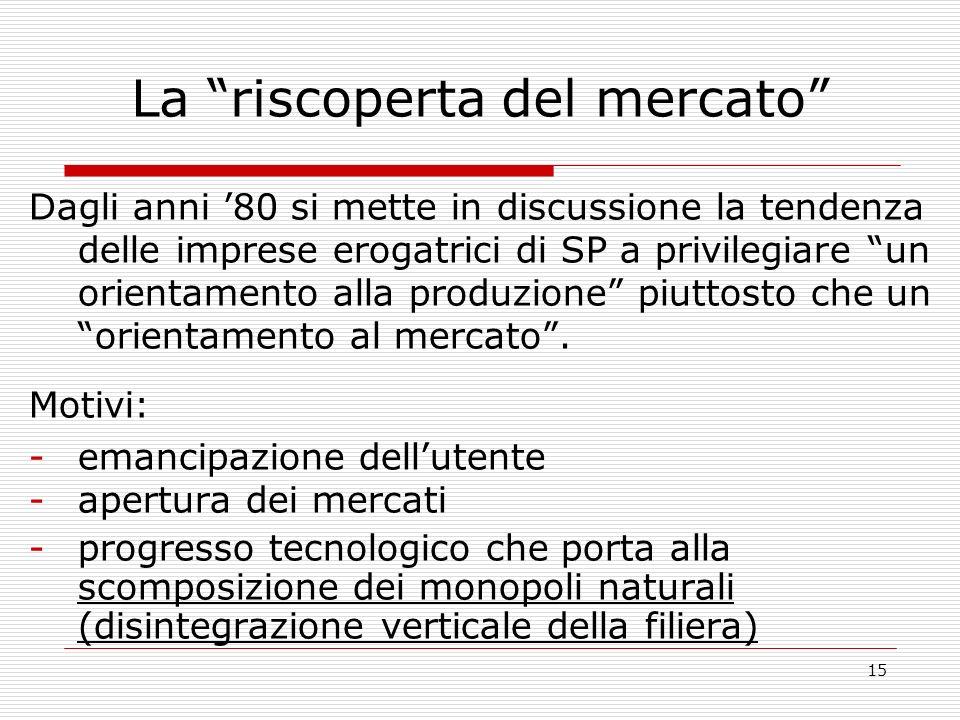 15 La riscoperta del mercato Dagli anni 80 si mette in discussione la tendenza delle imprese erogatrici di SP a privilegiare un orientamento alla produzione piuttosto che un orientamento al mercato.