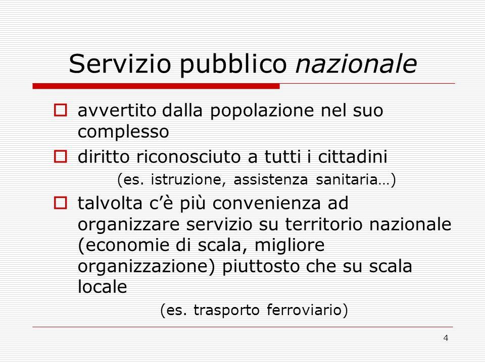4 Servizio pubblico nazionale avvertito dalla popolazione nel suo complesso diritto riconosciuto a tutti i cittadini (es.