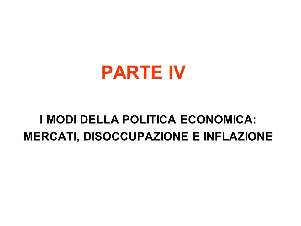 PARTE IV I MODI DELLA POLITICA ECONOMICA: MERCATI, DISOCCUPAZIONE E INFLAZIONE