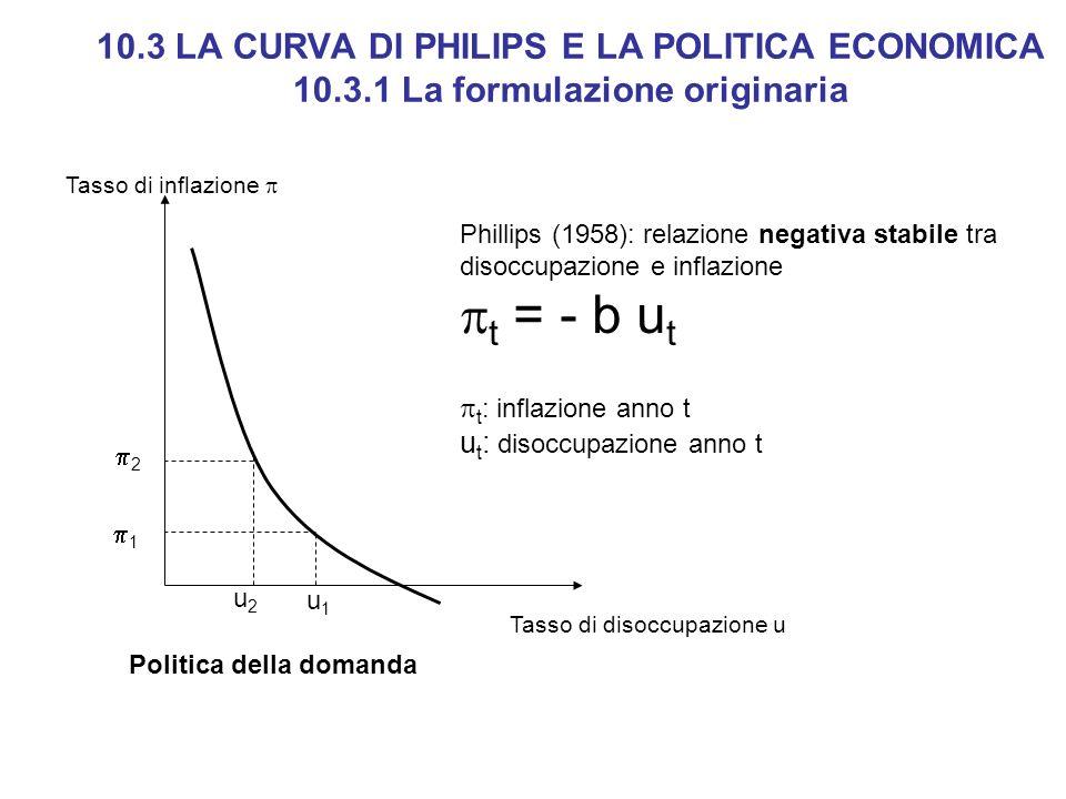 10.3 LA CURVA DI PHILIPS E LA POLITICA ECONOMICA 10.3.1 La formulazione originaria Tasso di disoccupazione u Politica della domanda Phillips (1958): r