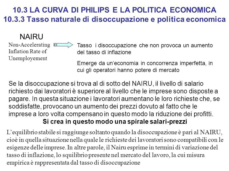 10.3 LA CURVA DI PHILIPS E LA POLITICA ECONOMICA 10.3.3 Tasso naturale di disoccupazione e politica economica NAIRU Non-Accelerating Inflation Rate of