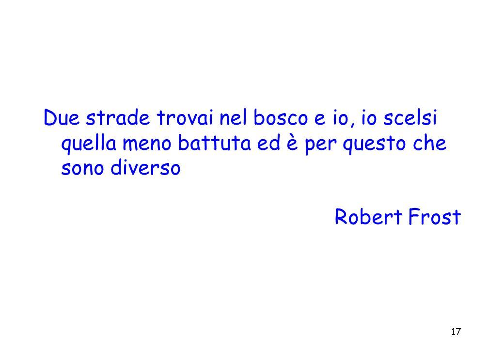 17 Due strade trovai nel bosco e io, io scelsi quella meno battuta ed è per questo che sono diverso Robert Frost