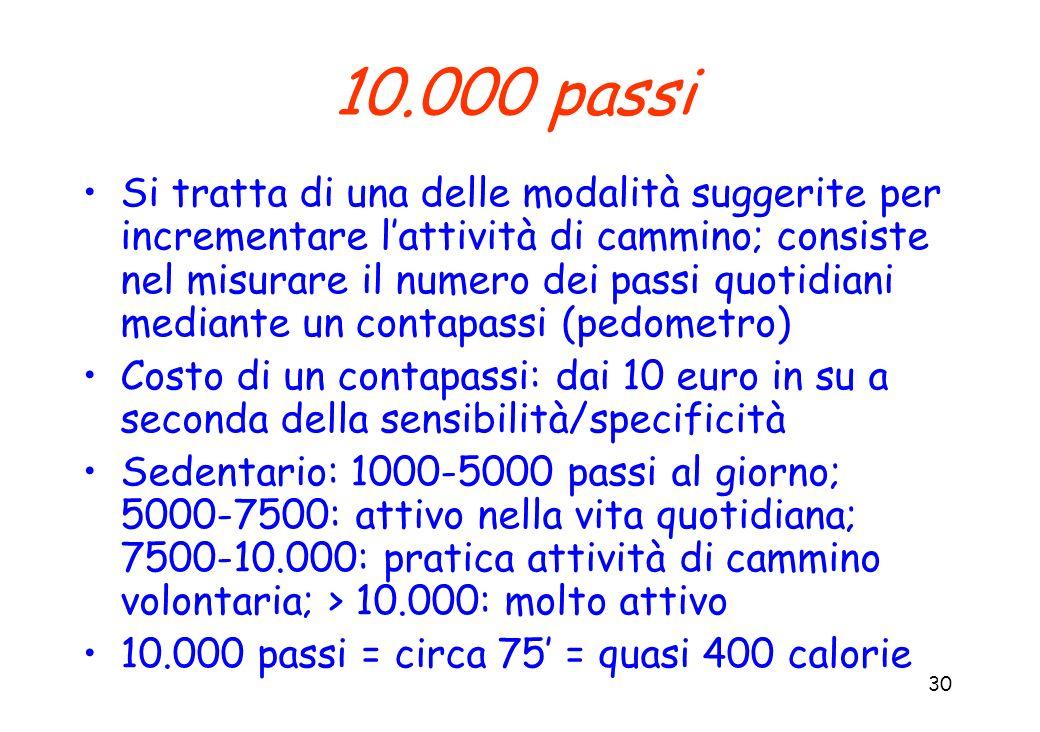 30 10.000 passi Si tratta di una delle modalità suggerite per incrementare lattività di cammino; consiste nel misurare il numero dei passi quotidiani