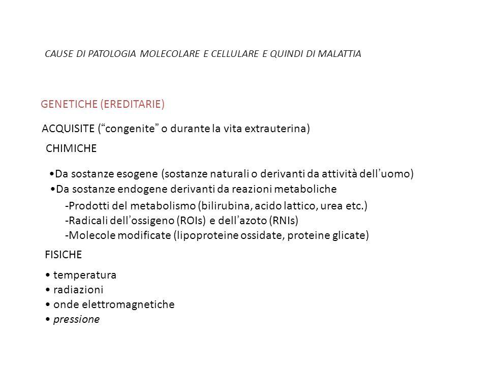 CAUSE DI PATOLOGIA MOLECOLARE E CELLULARE E QUINDI DI MALATTIA GENETICHE (EREDITARIE) ACQUISITE (congenite o durante la vita extrauterina) CHIMICHE Da