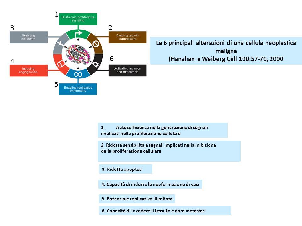 Le 6 principali alterazioni di una cellula neoplastica maligna (Hanahan e Weiberg Cell 100:57-70, 2000 1.Autosufficienza nella generazione di segnali