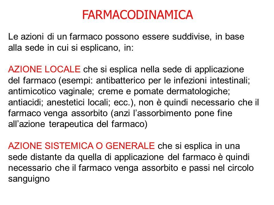 FARMACODINAMICA Le azioni di un farmaco possono essere suddivise, in base alla sede in cui si esplicano, in: AZIONE LOCALE che si esplica nella sede d