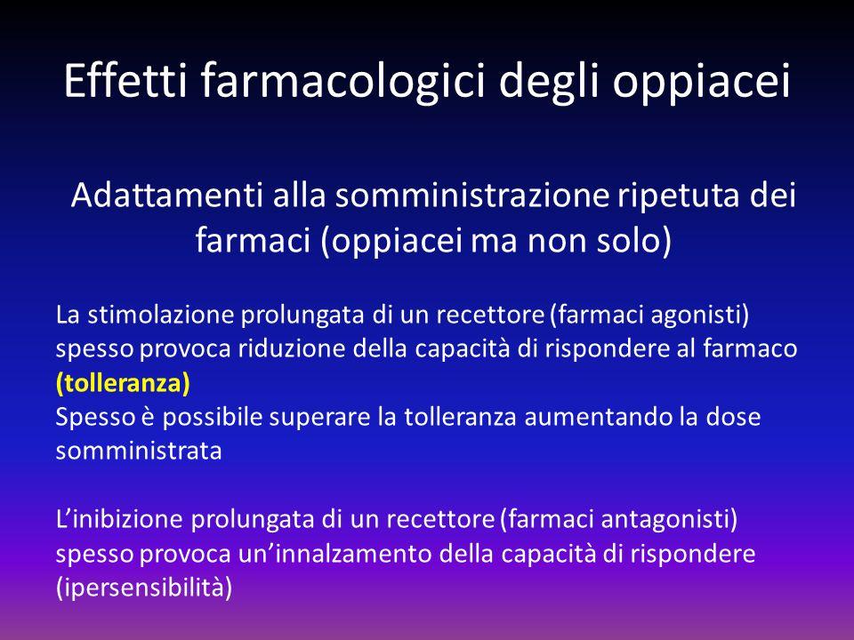 Effetti farmacologici degli oppiacei Adattamenti alla somministrazione ripetuta dei farmaci (oppiacei ma non solo) La stimolazione prolungata di un re