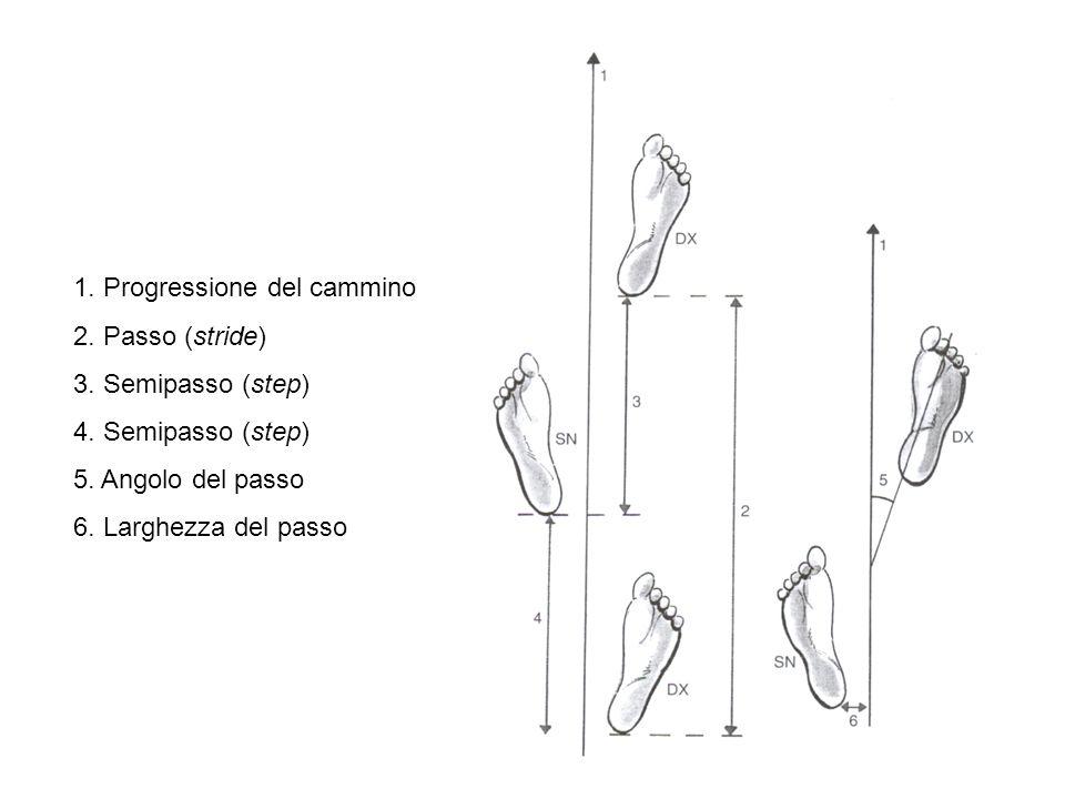 1.Progressione del cammino 2. Passo (stride) 3. Semipasso (step) 4.