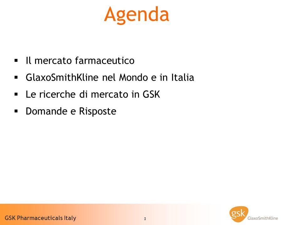 2 GSK Pharmaceuticals Italy Il mercato farmaceutico GlaxoSmithKline nel Mondo e in Italia Le ricerche di mercato in GSK Domande e Risposte Agenda