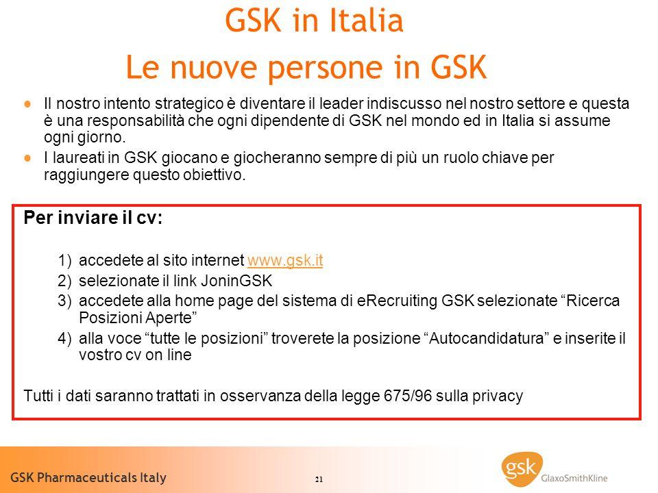 21 GSK Pharmaceuticals Italy Il nostro intento strategico è diventare il leader indiscusso nel nostro settore e questa è una responsabilità che ogni dipendente di GSK nel mondo ed in Italia si assume ogni giorno.