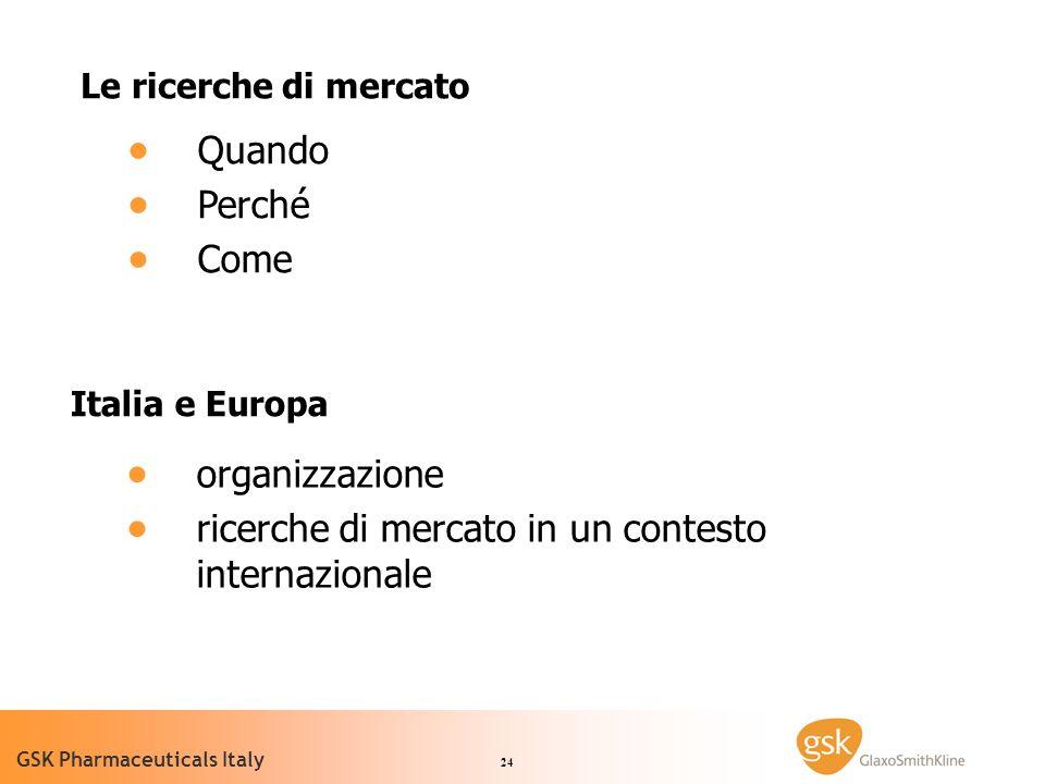 24 GSK Pharmaceuticals Italy Le ricerche di mercato Quando Perché Come Italia e Europa organizzazione ricerche di mercato in un contesto internazionale