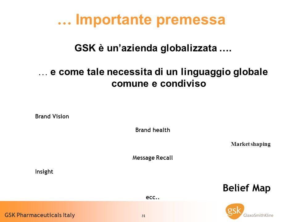 31 GSK Pharmaceuticals Italy GSK è unazienda globalizzata ….