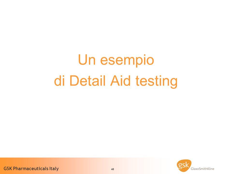 40 GSK Pharmaceuticals Italy Un esempio di Detail Aid testing