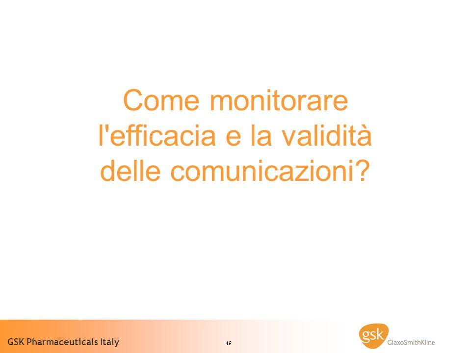 45 GSK Pharmaceuticals Italy Come monitorare l efficacia e la validità delle comunicazioni?