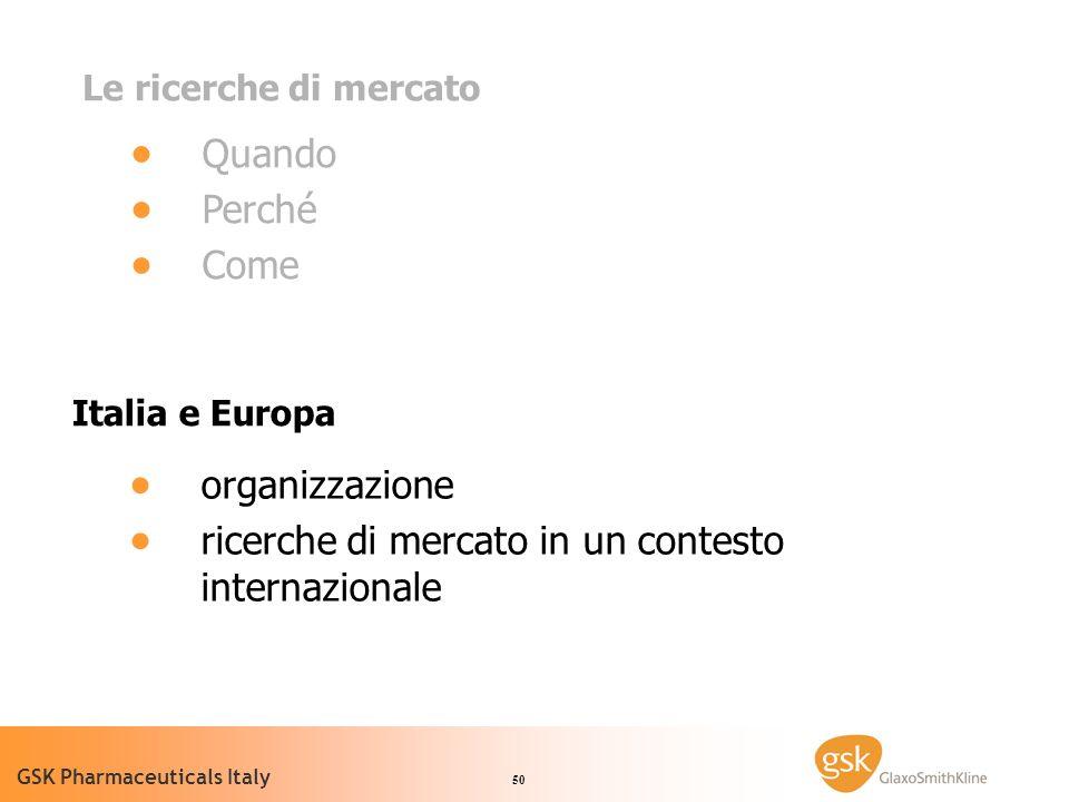 50 GSK Pharmaceuticals Italy Le ricerche di mercato Quando Perché Come Italia e Europa organizzazione ricerche di mercato in un contesto internazionale