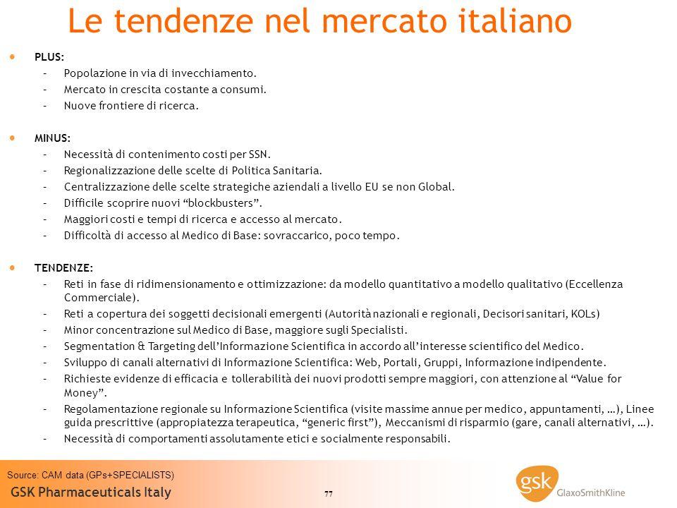 77 GSK Pharmaceuticals Italy PLUS: – –Popolazione in via di invecchiamento. – –Mercato in crescita costante a consumi. – –Nuove frontiere di ricerca.