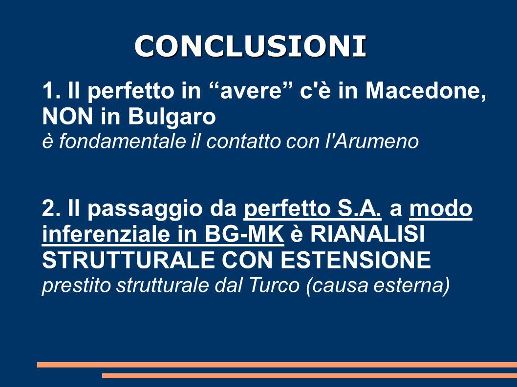 CONCLUSIONI 1. Il perfetto in avere c'è in Macedone, NON in Bulgaro è fondamentale il contatto con l'Arumeno 2. Il passaggio da perfetto S.A. a modo i