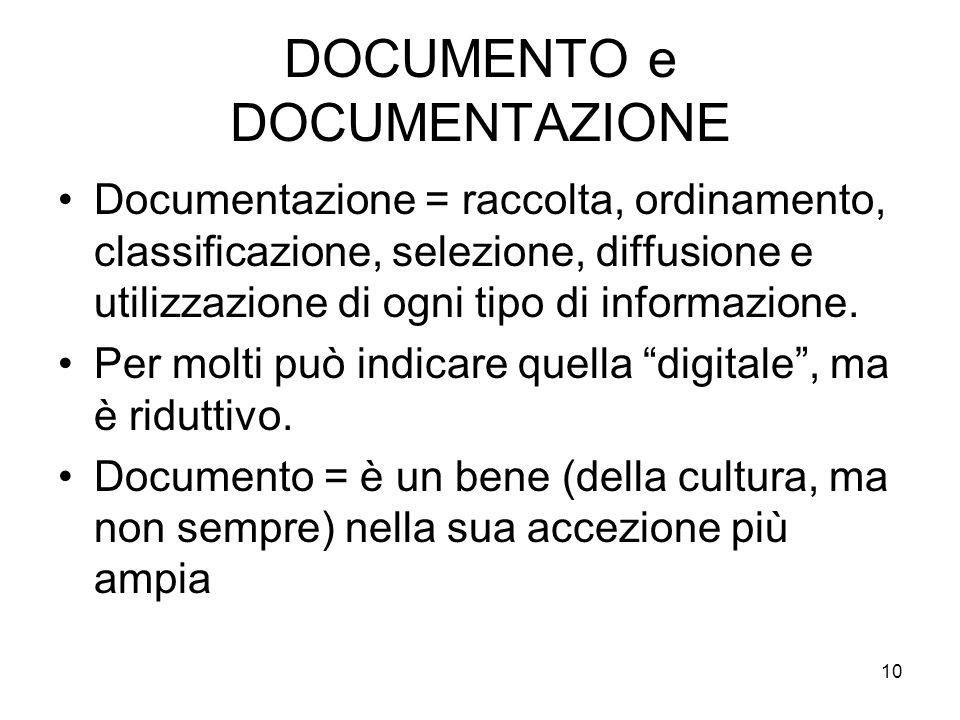 10 DOCUMENTO e DOCUMENTAZIONE Documentazione = raccolta, ordinamento, classificazione, selezione, diffusione e utilizzazione di ogni tipo di informazione.