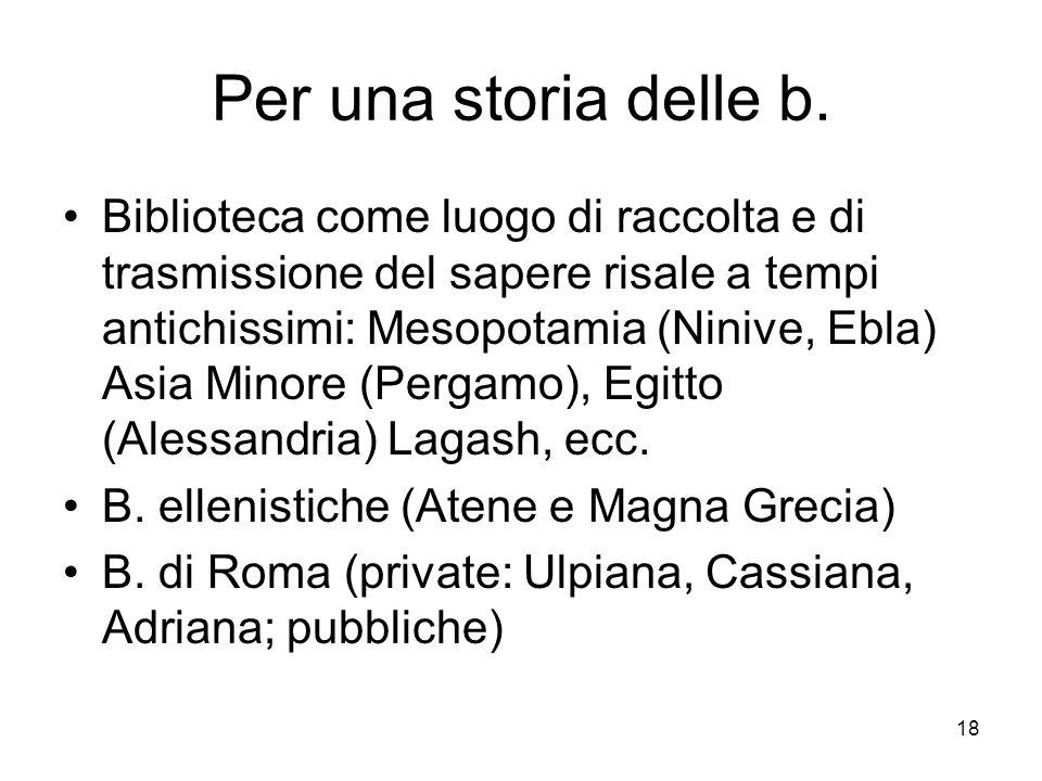 18 Per una storia delle b.