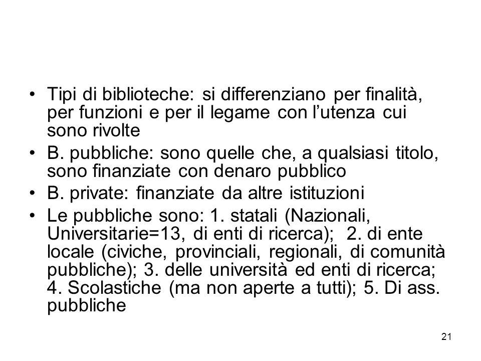 21 Tipi di biblioteche: si differenziano per finalità, per funzioni e per il legame con lutenza cui sono rivolte B. pubbliche: sono quelle che, a qual