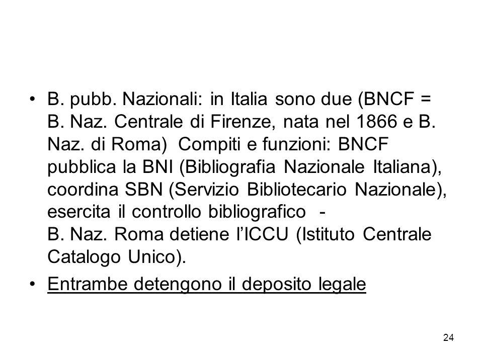 24 B. pubb. Nazionali: in Italia sono due (BNCF = B. Naz. Centrale di Firenze, nata nel 1866 e B. Naz. di Roma) Compiti e funzioni: BNCF pubblica la B