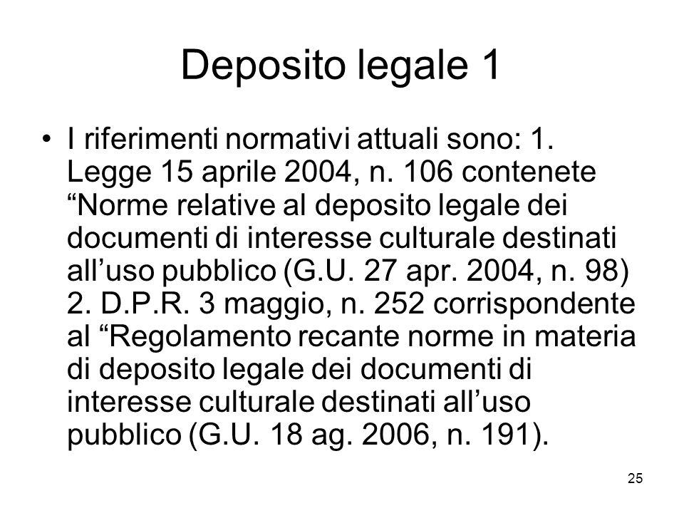 25 Deposito legale 1 I riferimenti normativi attuali sono: 1.