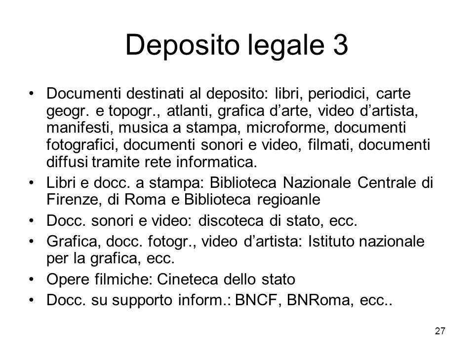 27 Deposito legale 3 Documenti destinati al deposito: libri, periodici, carte geogr. e topogr., atlanti, grafica darte, video dartista, manifesti, mus