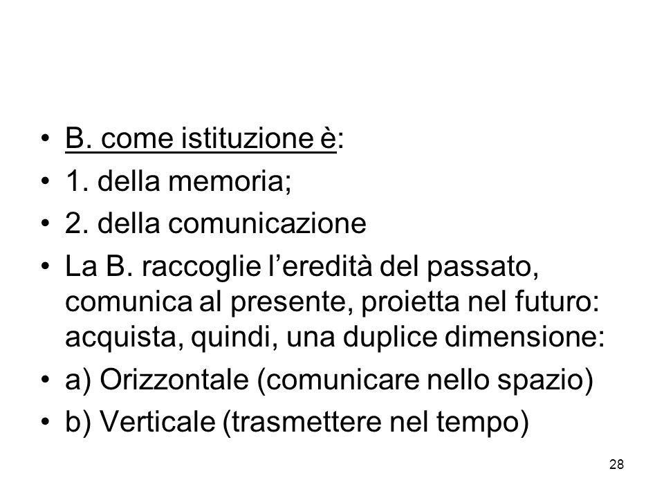 28 B. come istituzione è: 1. della memoria; 2. della comunicazione La B. raccoglie leredità del passato, comunica al presente, proietta nel futuro: ac