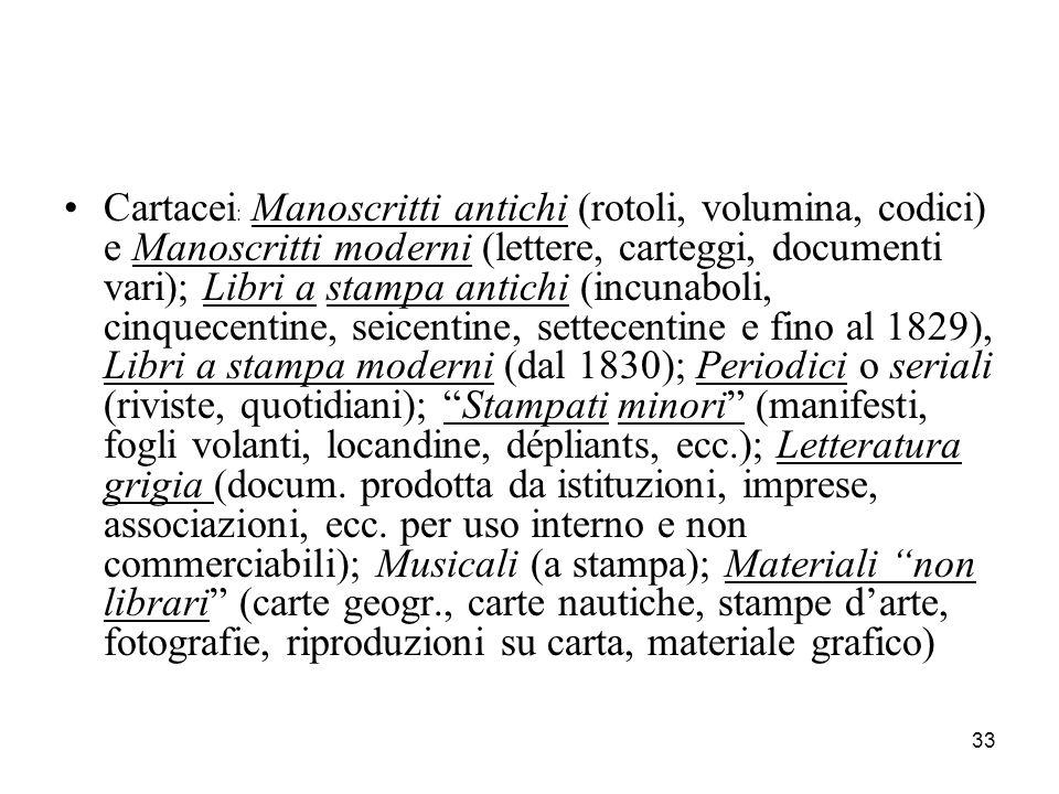 33 Cartacei : Manoscritti antichi (rotoli, volumina, codici) e Manoscritti moderni (lettere, carteggi, documenti vari); Libri a stampa antichi (incuna
