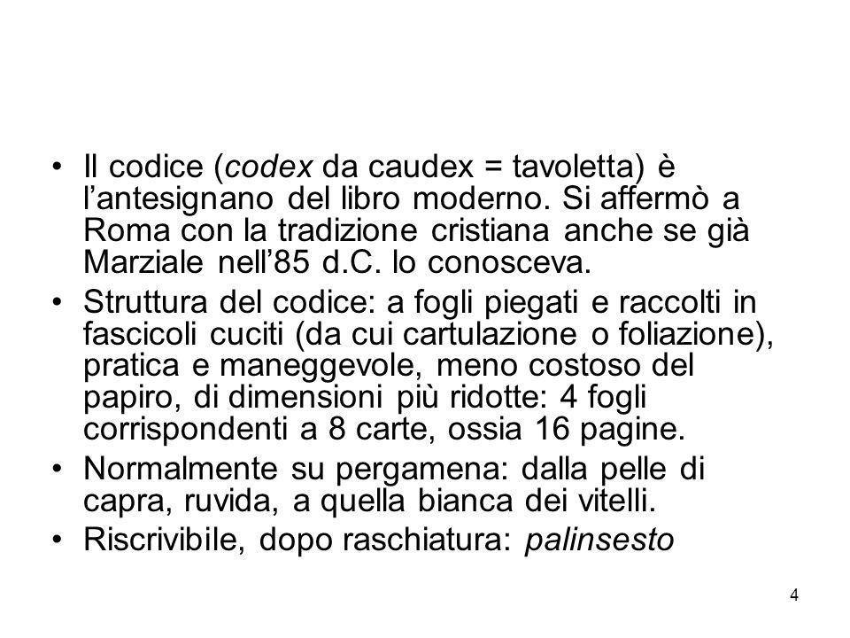 4 Il codice (codex da caudex = tavoletta) è lantesignano del libro moderno. Si affermò a Roma con la tradizione cristiana anche se già Marziale nell85
