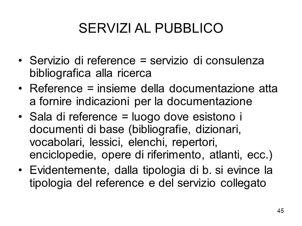 45 SERVIZI AL PUBBLICO Servizio di reference = servizio di consulenza bibliografica alla ricerca Reference = insieme della documentazione atta a forni