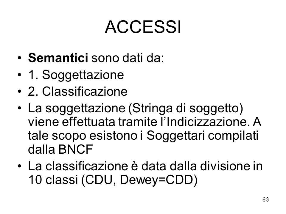 63 ACCESSI Semantici sono dati da: 1. Soggettazione 2. Classificazione La soggettazione (Stringa di soggetto) viene effettuata tramite lIndicizzazione