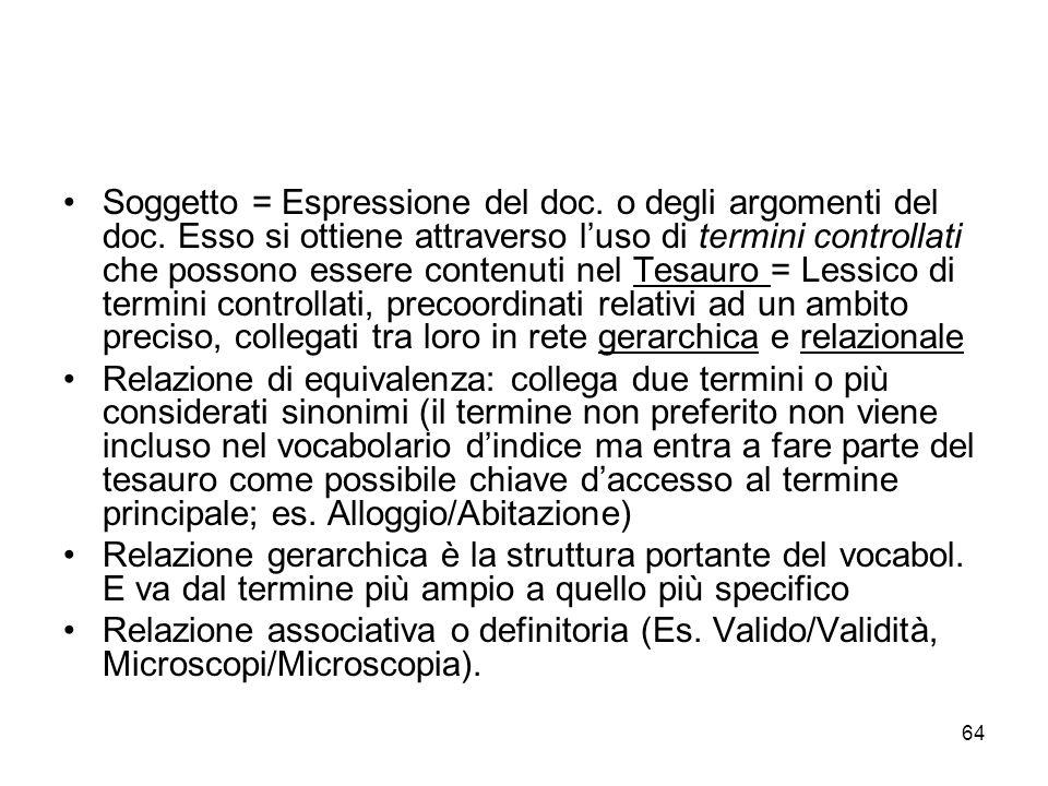 64 Soggetto = Espressione del doc.o degli argomenti del doc.