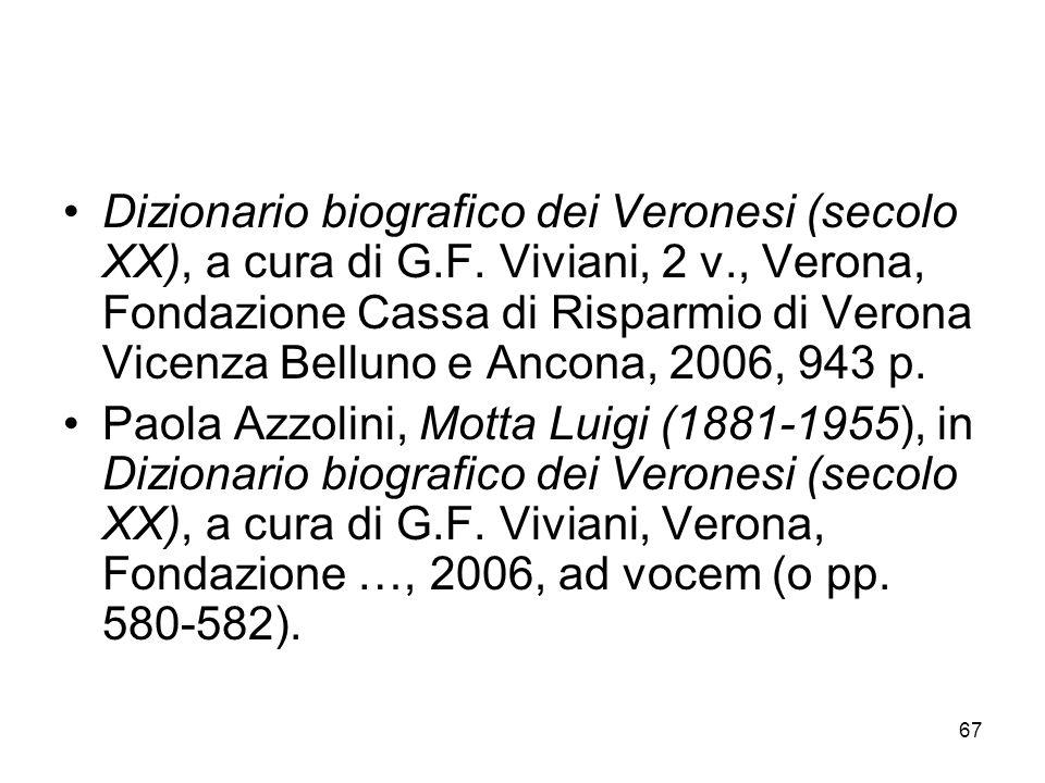 67 Dizionario biografico dei Veronesi (secolo XX), a cura di G.F. Viviani, 2 v., Verona, Fondazione Cassa di Risparmio di Verona Vicenza Belluno e Anc