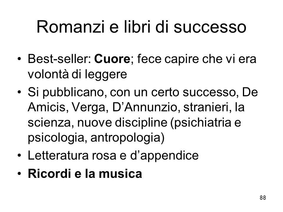 88 Romanzi e libri di successo Best-seller: Cuore; fece capire che vi era volontà di leggere Si pubblicano, con un certo successo, De Amicis, Verga, D