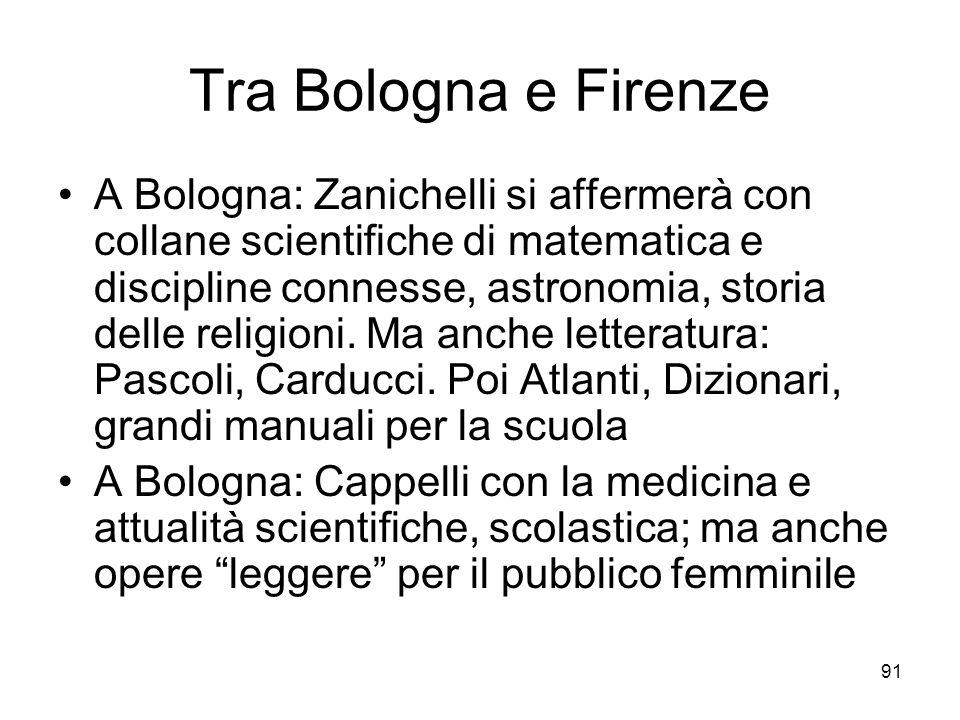91 Tra Bologna e Firenze A Bologna: Zanichelli si affermerà con collane scientifiche di matematica e discipline connesse, astronomia, storia delle religioni.