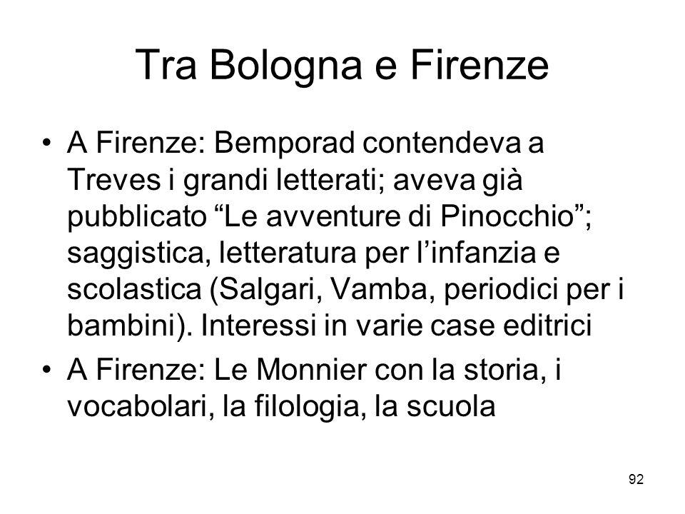 92 Tra Bologna e Firenze A Firenze: Bemporad contendeva a Treves i grandi letterati; aveva già pubblicato Le avventure di Pinocchio; saggistica, letteratura per linfanzia e scolastica (Salgari, Vamba, periodici per i bambini).