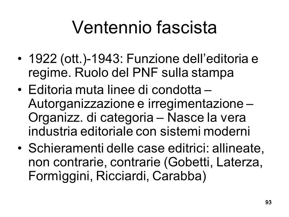 93 Ventennio fascista 1922 (ott.)-1943: Funzione delleditoria e regime. Ruolo del PNF sulla stampa Editoria muta linee di condotta – Autorganizzazione