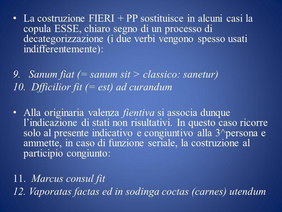 La costruzione FIERI + PP sostituisce in alcuni casi la copula ESSE, chiaro segno di un processo di decategorizzazione (i due verbi vengono spesso usati indifferentemente): 9.Sanum fiat (= sanum sit > classico: sanetur) 10.