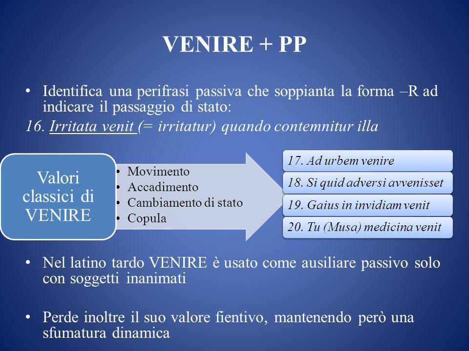 VENIRE + PP Identifica una perifrasi passiva che soppianta la forma –R ad indicare il passaggio di stato: 16.
